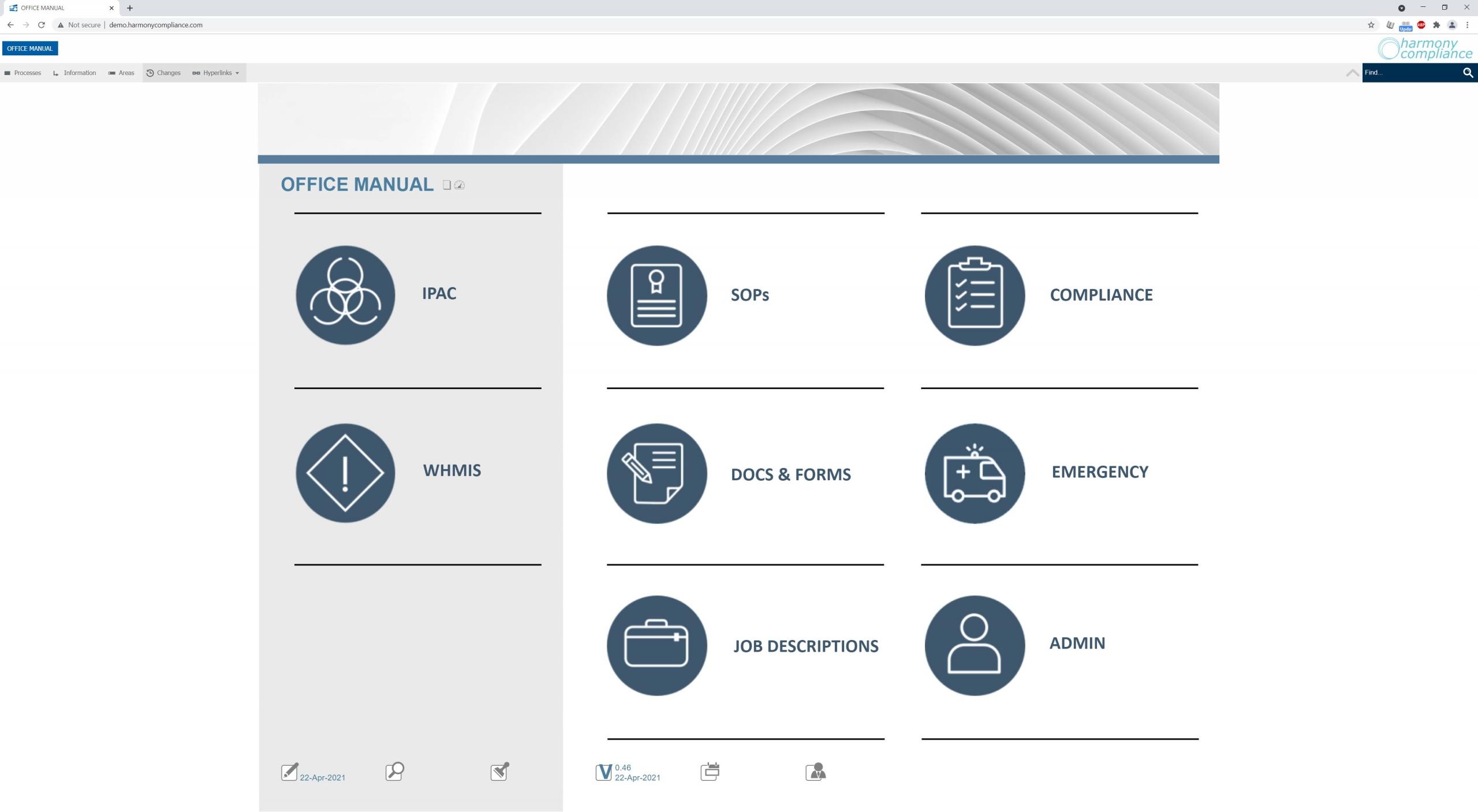 Harmony Compliance Software Screenshot Home